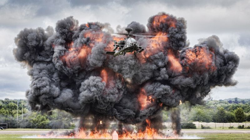Apache Attack Helicopter takes part in air show. Credit: Cpl Neil Bryden RAF, Crown Copyright