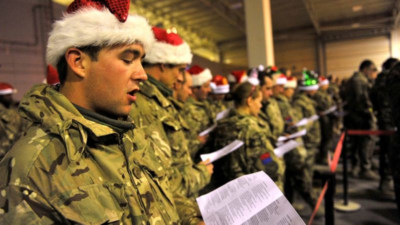 A carol service in Camp Bastion Afghanistan during Christmas 2011 221211