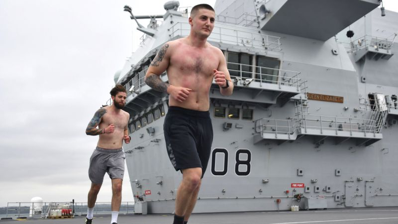 Air Engineering Technicians LAE Calum Dee and AE Giorgio Zsirai run marathon on HMS QE 280520 CREDIT Royal Navy._0.jpg