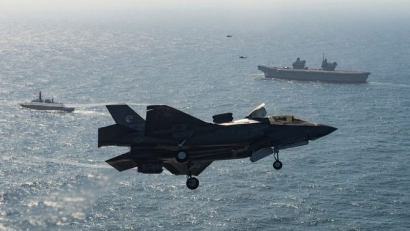 American F-35 with a UK Carrier Strike Group 250918 CREDIT LOCKHEED MARTIN MOD