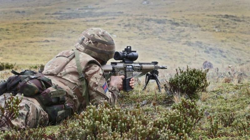 Anon soldier during exercise on Falklands Onion Ranges 2 170217 CREDIT CROWN COPYRIGHT