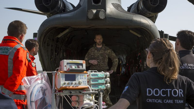 Armed Forces helicopter personnel train with NHS critical care staff for coronavirus medical evacuation pic 1 090420 CREDIT MOD.jpg