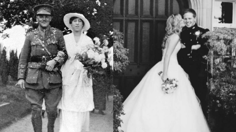 The exhibition showcases nine wedding dresses worn over a period of nearly 100 years (Picture: Fusilier Museum).