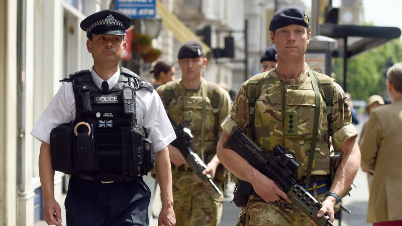 Army join police in Whitehall after terror attack 240517 CREDIT PA