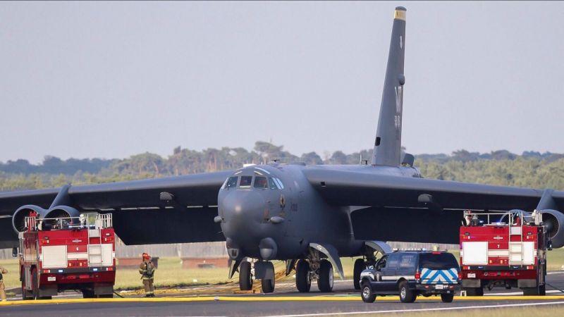 B-52 Bomber In Emergency Landing At RAF Mildenhall Following