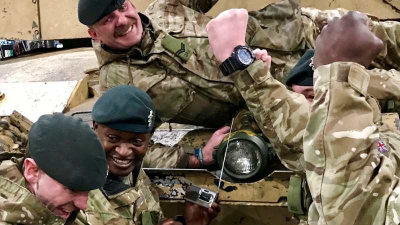 Troops in BATUS listen to Forces Radio BFBS on new pocket radio