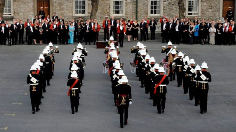 Band of Her Majesty's Royal Marines performing for Prince Philip at Stonehouse Barracks in Plymouth