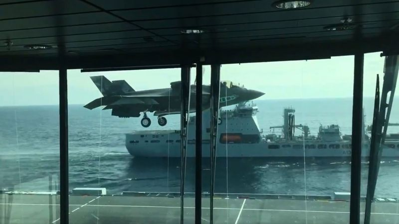 Lockheed Martin F-35 Lightning II HMS Queen Elizabeth RFA Tidespring Screen Grab Twitter Video