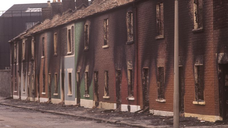 Burned out houses in Conway Street, Belfast, Northern Ireland during the Troubles