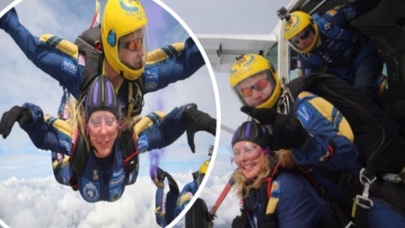 Carol Vorderman takes the plunge in a skydive with The Tigers
