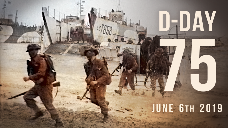 D-Day 75 beach landing image. Elaine Holtom graphic 2019.