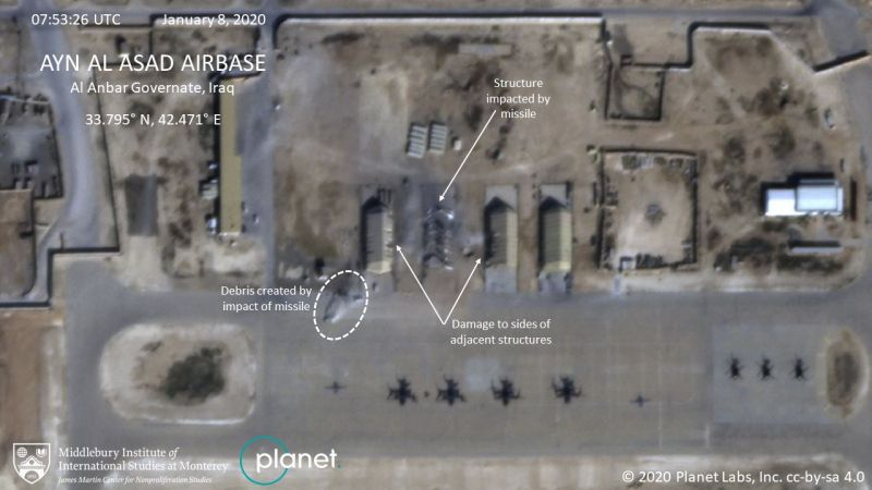 Damage to Al Asad air base 160120 CREDIT PLANET LABS must leave the Middlebury Institute of International Studies at Monterey