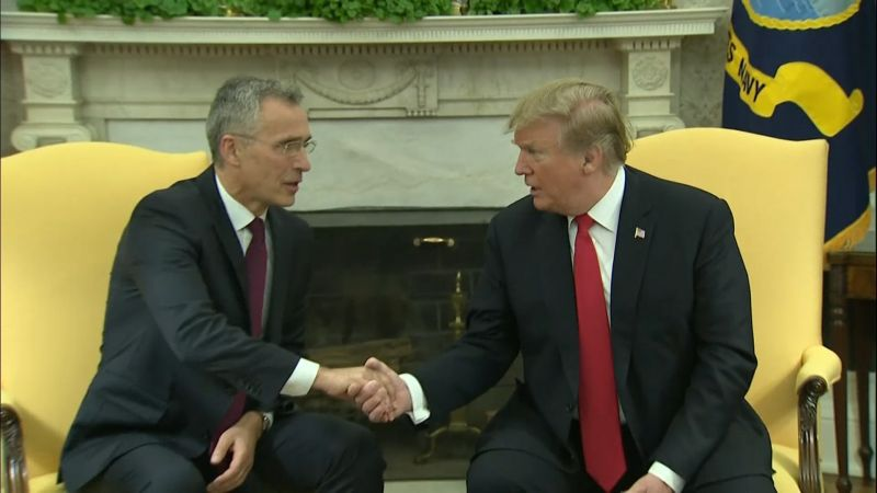 Donald Trump Jens Stoltenberg handshake at White House