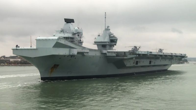 EDITED HMS Queen Elizabeth Leaves Portsmouth For First Flight Trials In UK Waters CREDIT BFBS 240120