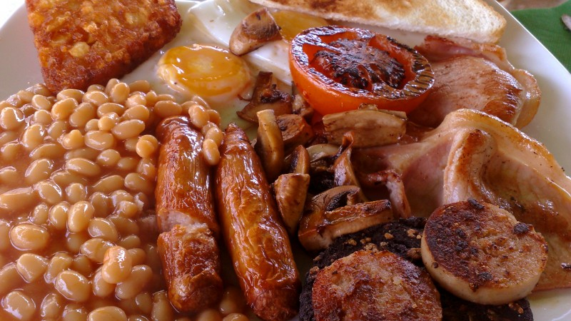 English Breakfast Sausages Beans Mushrooms Eggs Toast Tomato Bacon Public Domain