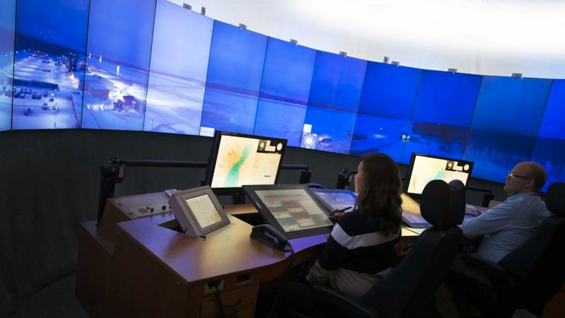 Example of how remote air traffic control modules at RNAS Culdrose could look on curved screen wall 22021 CREDIT Saab.jpg