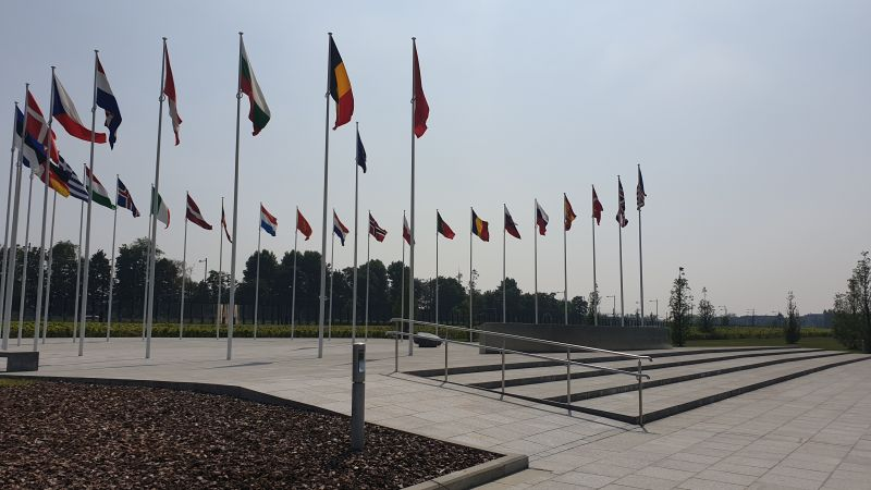 Flags at NATO HQ headquarters Brussels