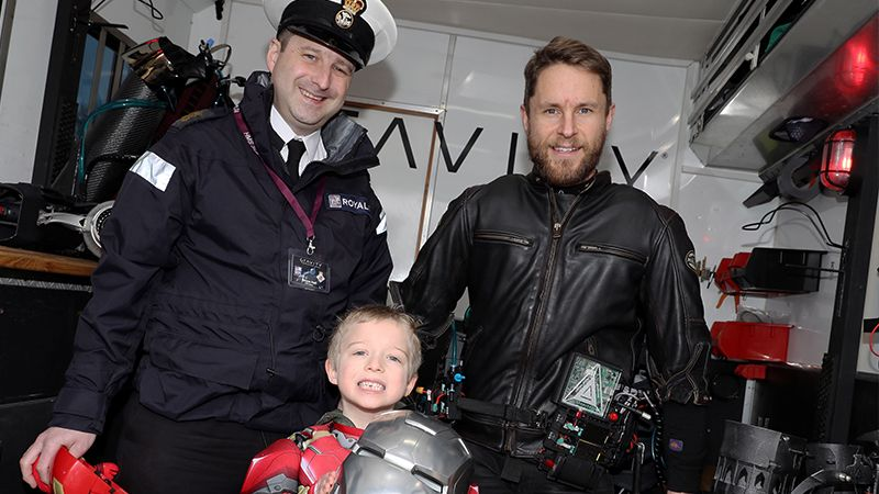 Former Royal Marines Reservist turned jet suit inventor Richard Browning meets Bailey Hall CREDIT Royal Navy