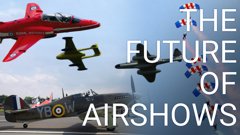 Future of airshows banner with several photos from DNI CREDIT MOD
