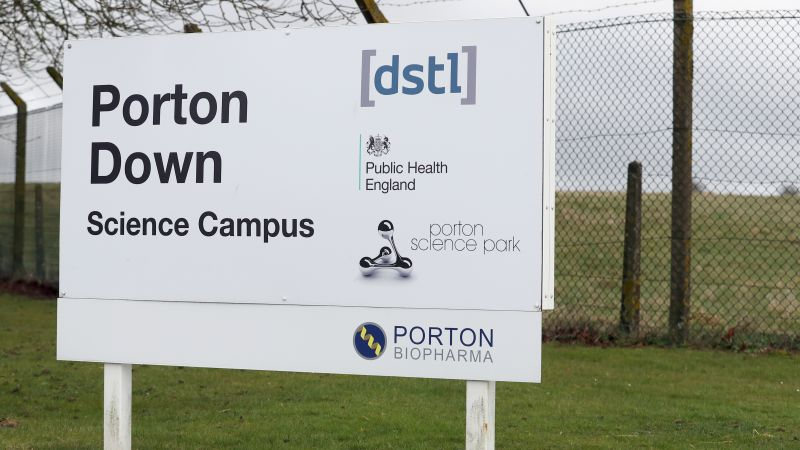 General view of a sign for Porton Down Science Campus in Wiltshire 150318 CREDIT PA