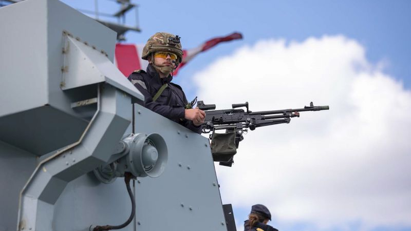 Gunner on HMS Lancaster bridge wing during weapons trials 100620 CREDIT Royal Navy