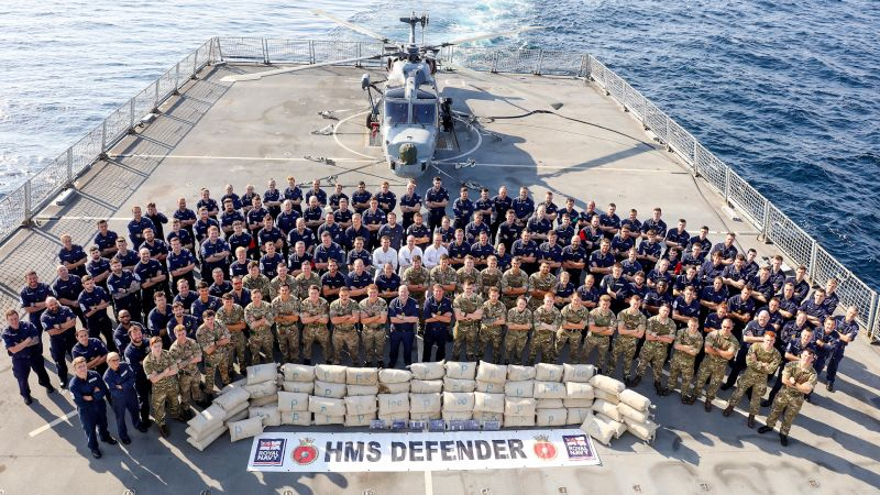 HMS Defender crew with drugs seized in Indian Ocean 040220 CREDIT Royal Navy.jpg
