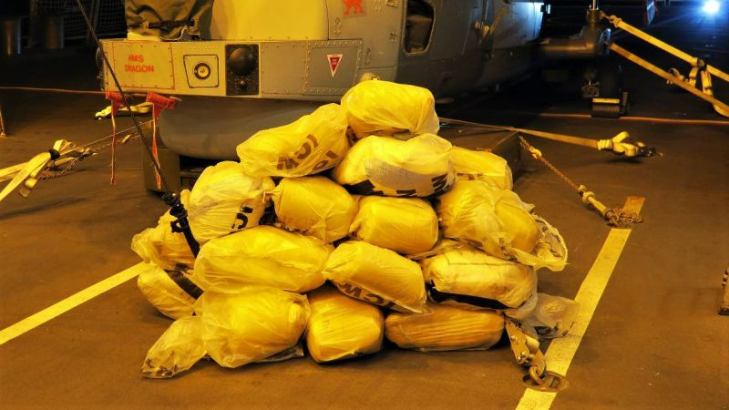 HMS Dragon displays part of three tonne seizure of hashish drugs
