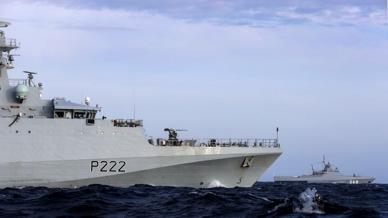 HMS Forth monitors a Russian vessel through English Channel 070819 CREDIT ROYAL NAVY