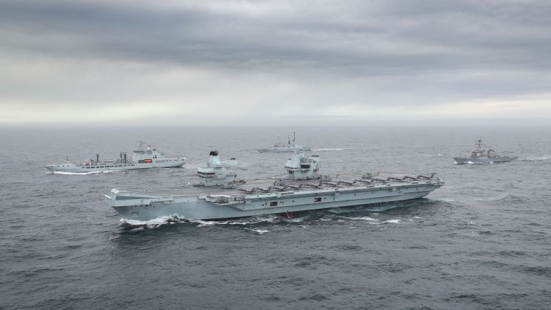 HMS Queen Elizabeth during Exercise Joint Warrior with other vessels as Carrier Strike Group forms 051020 CREDIT ROYAL NAVY