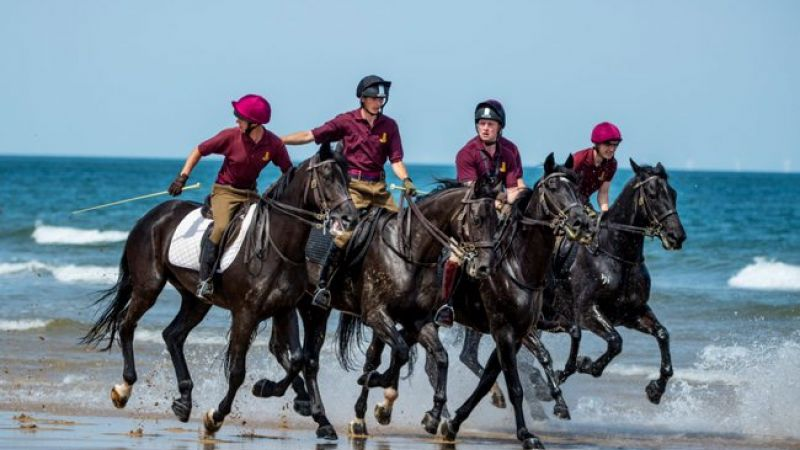 Household Cavalry on the beach in Norfolk 050719 Credit MOD