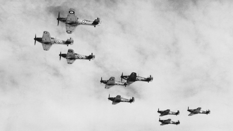 Hurricanes Battle Of Britain RAF 11 Group Royal Air Force Black And White October 1940