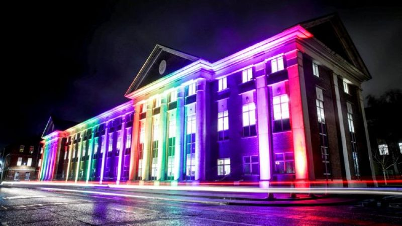 Image of Victory Building at HM Naval Base Portsmouth, illuminated with rainbow colours to mark 20 years since lifting of LGB military ban CREDIT MOD 090120.jpg