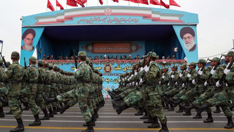 Iranian military during parade in Tehran