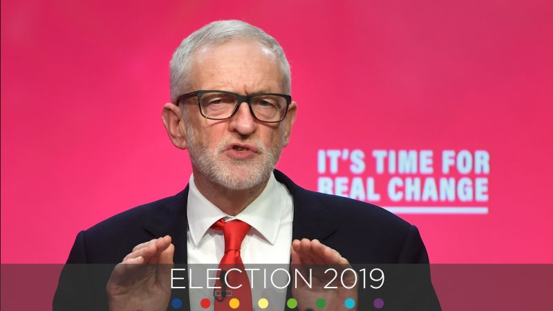 Jeremy Corbyn during Labour Party manifesto launch with General Election image