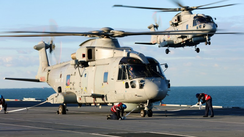 Naval Air Squadron Embarks In HMS Queen Elizabeth For The First Time