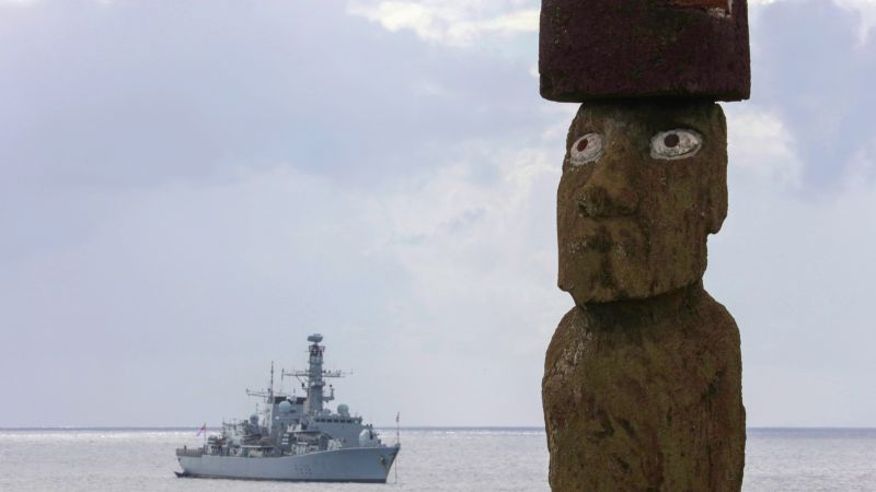 Montrose at Easter Island with Moai statue