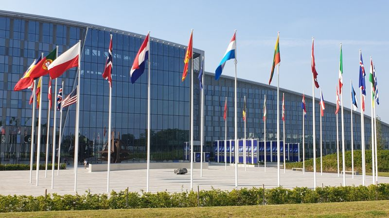 NATO HQ headquarters Brussels flags 2