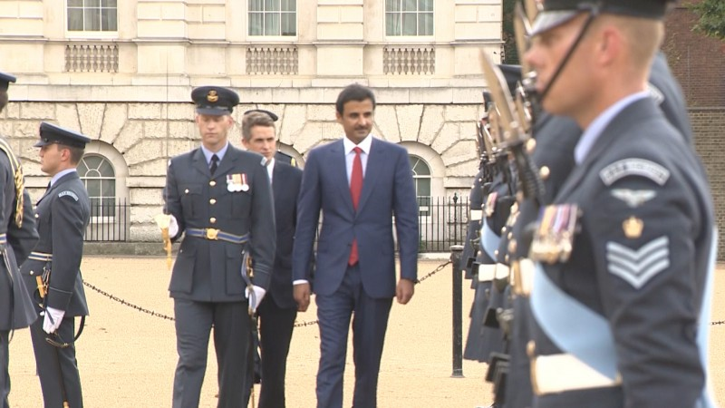 Gavin Williamson with Emir of Qatar at standing up ceremony for joint Typhoon Squadron