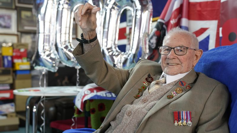 Normandy veteran Tommy Trotter celebrates his 100th birthday at the The Last Post in Thornaby, Teesside 100221 CREDIT PA