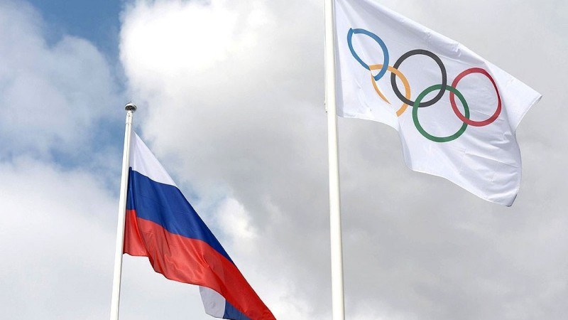 Olympic & Russian flags