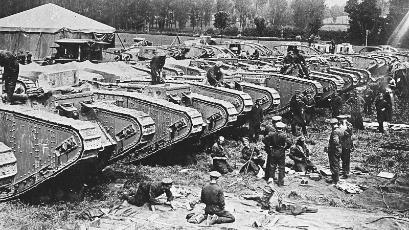 tanks preparing for the Battle of Cambrai