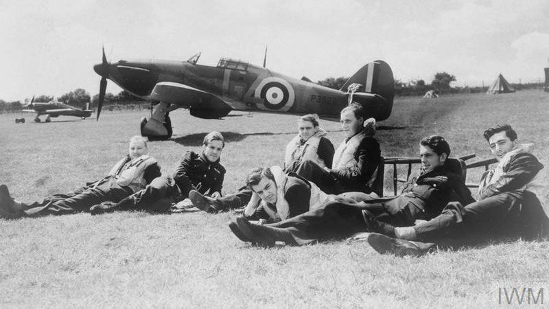 Pilots of 'B' Flight, No. 32 Squadron RAF Hawkinge Black And White Credit © IWM (HU 54418)