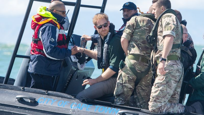 Prince Harry at sea with Royal Marines off the coast of South Africa 250919 CREDIT PA