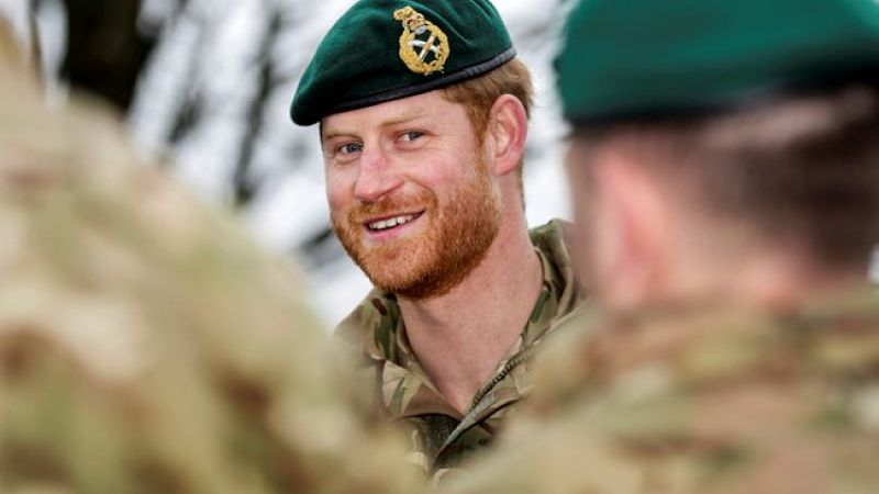 Prince Harry wearing green beret