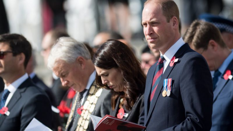 Prince William attends Anzac Day commemorations alongside New Zealand Prime Minister Jacinda Ardern (Picture: Kensington Palace).