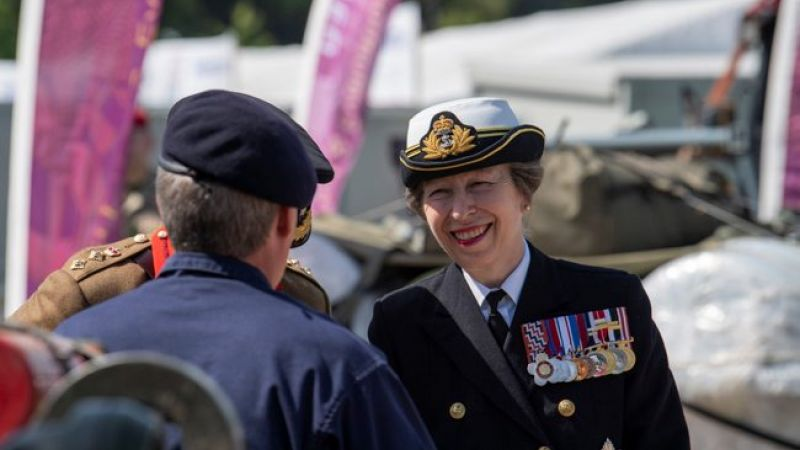 Princess Anne smiling in military uniform at Salisbury Armed Forces Day