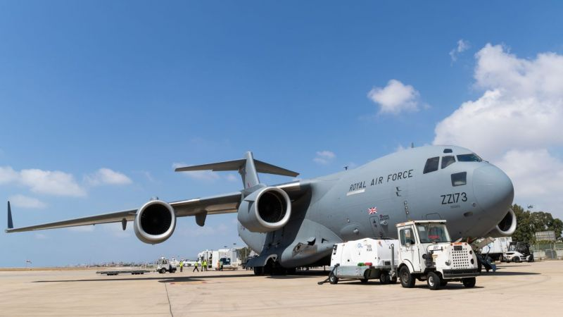 RAF C-17 delivers cold storage units to Beirut