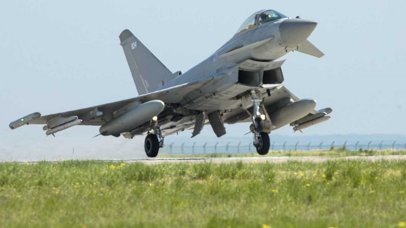 An RAF Typhoon takes off from Romania (Picture: MOD).