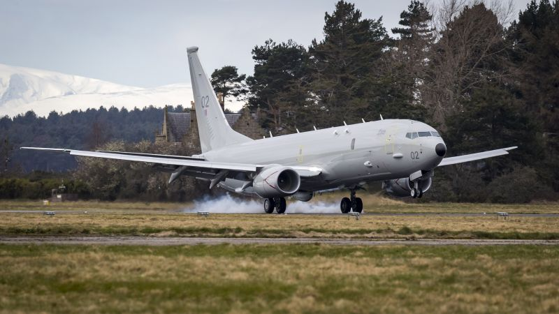 RAF's second P-8A Poseidon arrives at Kinloss Barracks 130320 CREDIT MOD