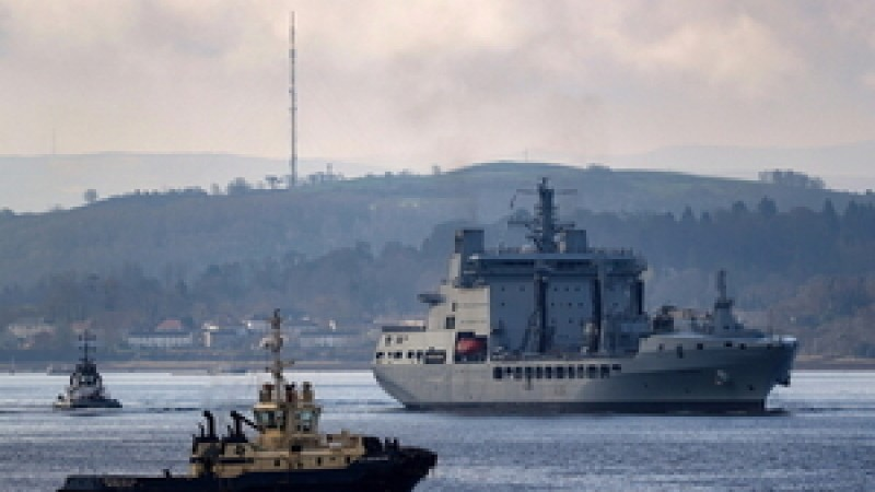 RFA Tidespring arrives at HMNB Clyde (Picture: MoD).